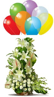 10 air filled Balloons with White carnations roses White gladiolii White lilies basket