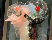 2 LED Balloon flower bouquet Bobo balloon transparent balloon with black and pink Wrapping