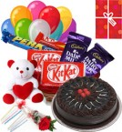 6 inches Teddy with small chocolate basket (2 Dairy milk 2 Kitkat 1 perk) 10 air filled Balloon 1/2 kg chocolate cake and Card 1 Red rose