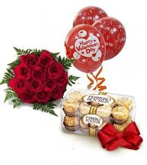 3 Air filled Red Balloon with 16 Ferrero rocher and 10 red roses