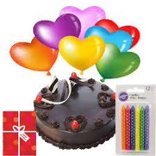12 air balloons 1/2 kg chocolate cake and candles with card