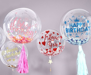 Three Transparent bobo balloons with happy birthday 1 with i love u