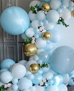 50 Gold white blue air balloons with flowers in between