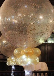 Colourful celebrations 2 golden confetti bobo balloon with led lights