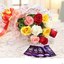 Bouquet Of 6 Roses With Assorted Chocolates