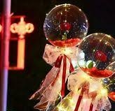 2 red rose Inside 2 transparent balloons with Fairy lights