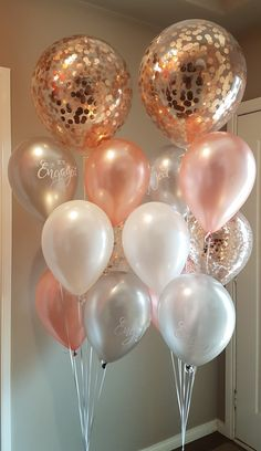 15 Gas filled rose gold white and confetti Balloons tied to ribbons