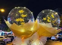 2 LED Luminous Balloon Rose Bouquet with Light balloon with white yellow Wrapping