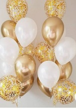 20 Gas filled gold Balloons tied to ribbons