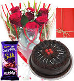Bouquet of 6 roses with Card and 1/2 kg cake 1 silk chocolate