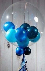 High quality bobo balloon stuffed with shades of blue balloons on stick and leaves