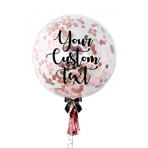 Gold Bright Confetti balloons with YOUR TEXT print on balloon