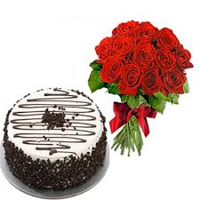A Cappuccino Cake and 12 red roses bouquet
