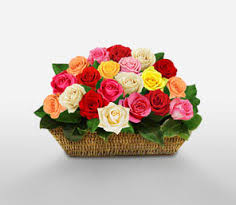 Two dozen assorted spring roses arranged in a basket