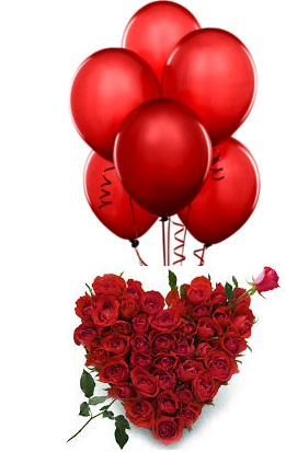 6 Red Air Blown balloons 20 Red Roses Heart