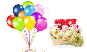 8 teddies in a basket with 12 air balloons