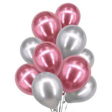 20 Gas filled pink silver Balloons tied to ribbons