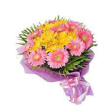 A bouquet of 24 gerbera flowers