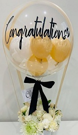 15 white flowers roses basket with 3 pink white Balloon in colourless balloon with congratulations print on balloon