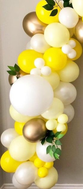 30 gold yellow white small and large air balloons with leaves and flowers