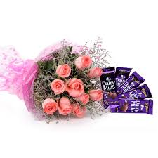 A bouquet of 10 pink roses 4 silk chocolates bars
