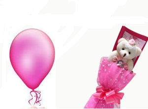 1 Pink Air Blown balloon 6 inches pink Teddy bouquet