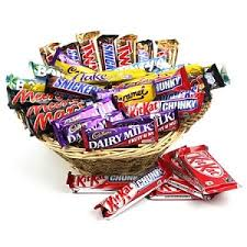 Assorted chocolates in a basket