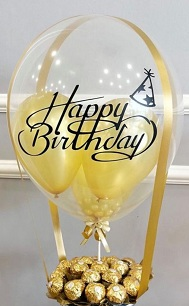 Happy birthday printed aqua balloon stuffed with yellow balloons and 16 Ferrero chocolates