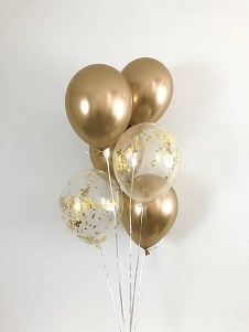4 Gold balloons and 2 gold confetti air filled balloons