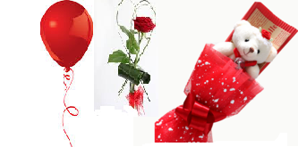 1 Red Air Blown balloon 1 red rose 6 inches Teddy bouquet