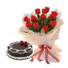 10 red roses in a Vase and 1 kg cake and card