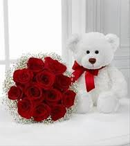 6 inch teddy with 12 roses bouquet
