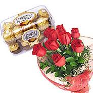 16 Ferrero and 8 red roses in a bouquet