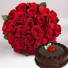 Arrangement of 20 roses and 1 kg cake