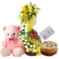 1 feet teddy with 2 tier roses arrangement 1/2 kg of cake and card
