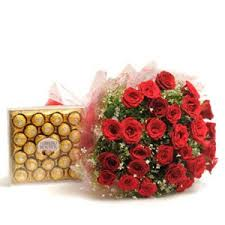 A bouquet of 10 red roses 24 ferrero chocolates