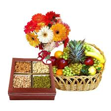 3 kg fruits and 1/2 kg dry fruit with 12 flowers bunch