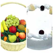 3 kg fruits and 1/2 kg cake