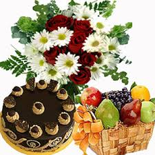 3 kg fruits and 15 flowers basket and 1/2 kg cake