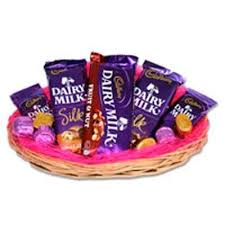 A basket of 8 silk chocolates bars