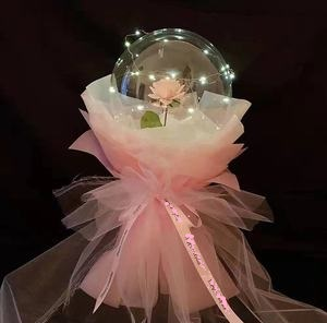 Single Pink rose Inside a transparent balloons with led lights