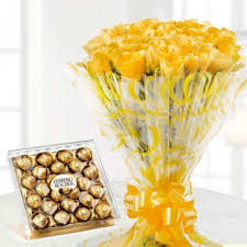 24 ferrero rocher chocolates and a bouquet of 30 yellow roses
