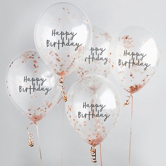 5 transparent balloons all stating happy birthday with confetti