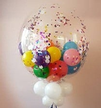 High quality balloons bobo balloon stuffed with colours of balloons and white balloons on stick and leaves