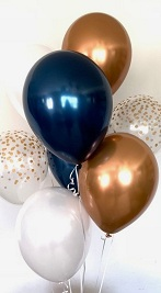 10 Gas filled gold blue white confetti Balloons tied to ribbons