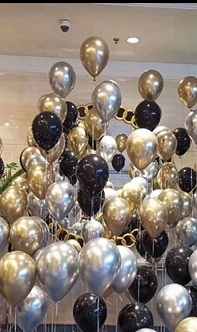 60 helium Gas filled gold confetti black Balloons tied to ribbons