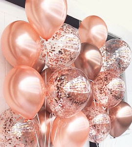 20 Gas filled rose gold confetti Balloons tied to ribbons
