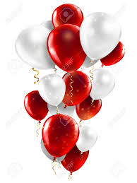 15 Gas filled red and white Balloons tied to ribbons