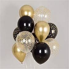 10 Gas filled gold black Balloons tied to ribbons