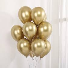 10 Gas filled gold Balloons tied to ribbons
